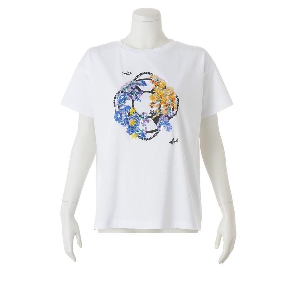 スパンコール 刺繍モチーフ Tシャツ