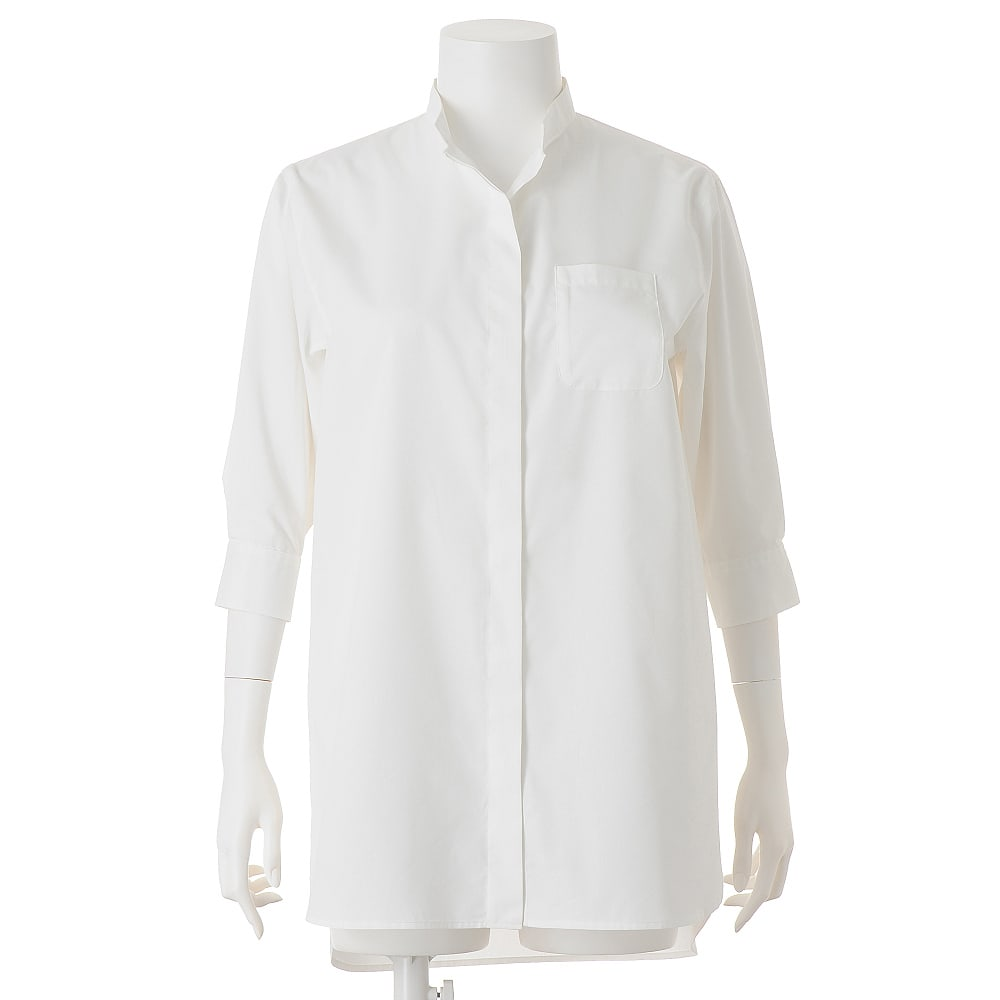 (L-LL) コットン混 チビスタンドシャツ(大きいサイズ) オフホワイト