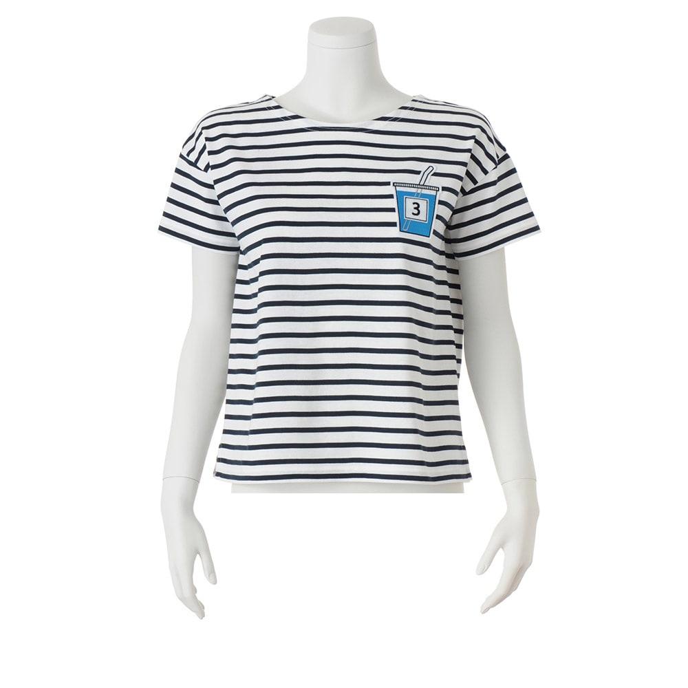 ジュースワッペン付き ボーダーTシャツ (ア)ホワイト×ネイビー