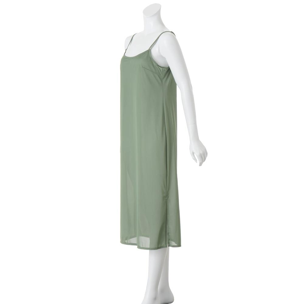 シルク楊柳 ボタニカルプリント ワンピース インナードレス付き