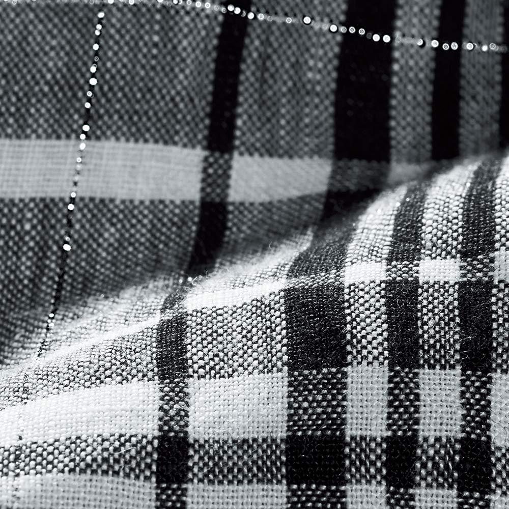 イタリア素材リネン チェック柄 フレアーワンピース 生地アップ