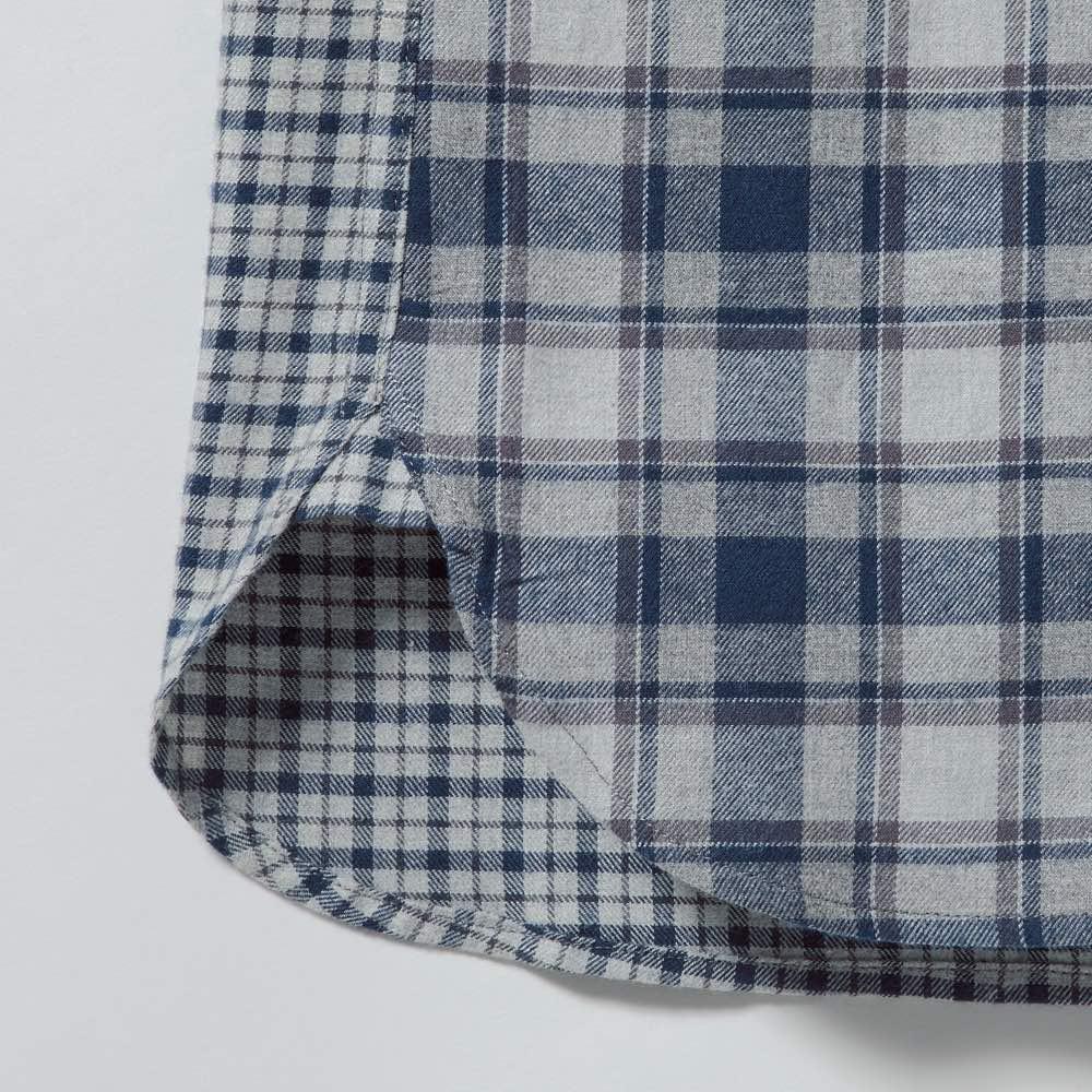 クレイジーチェックフランネルシャツ 脇の裾は丁寧にガゼットで補強。さりげないこだわりで、アウトにしたときも決まります。
