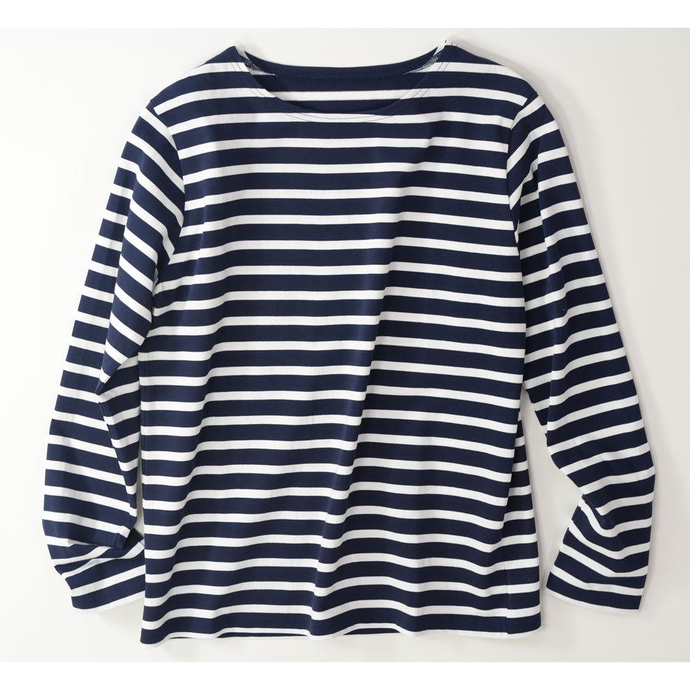 度詰めボーダーTシャツ(日本製) (エ)ネイビー×ホワイト