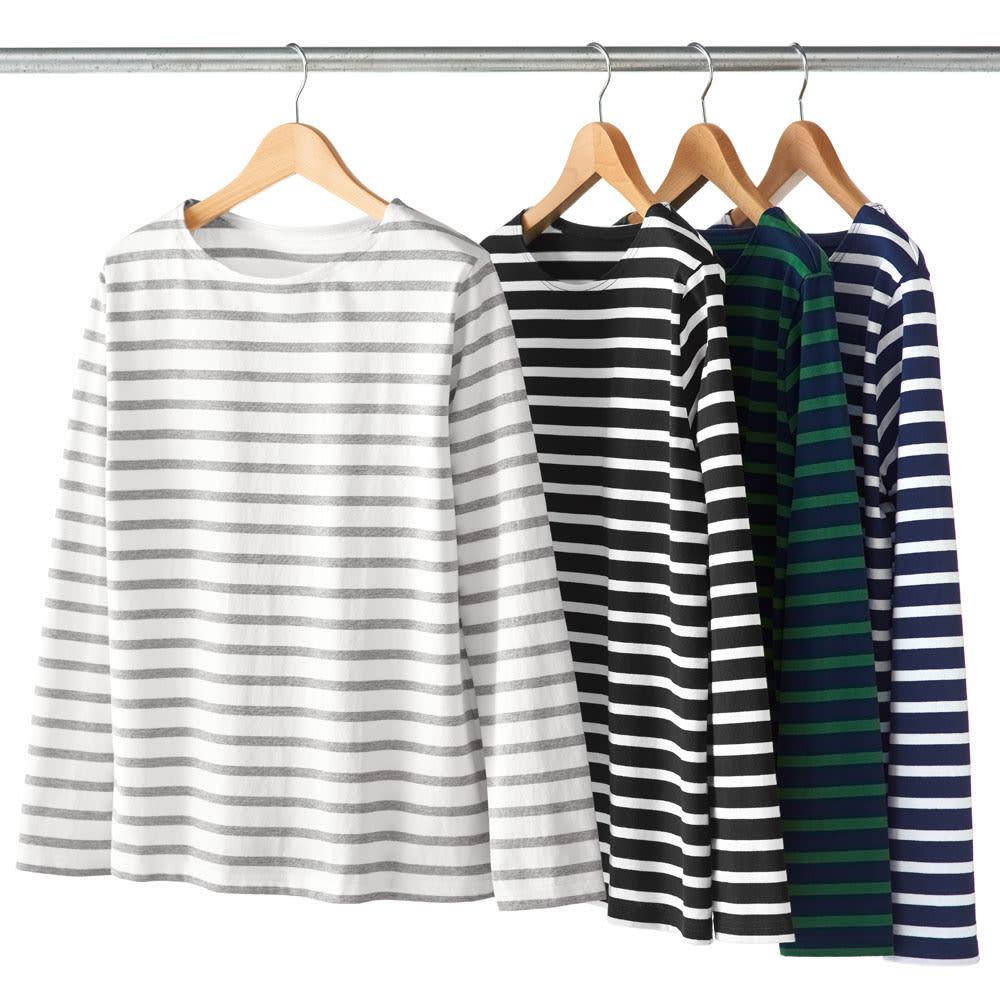 度詰めボーダーTシャツ(日本製) からホワイト×グレー、 ブラック×ホワイト、 (ウ)グリーン×ネイビー、 (エ)ネイビー×ホワイト ※今回は (ウ)グリーン×ネイビー、 (エ)ネイビー×ホワイトのみの販売となります。