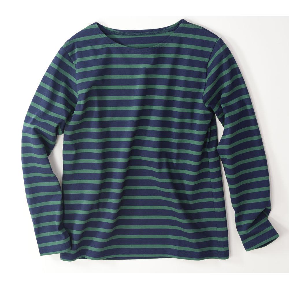 度詰めボーダーTシャツ(日本製) (ウ)グリーン×ネイビー