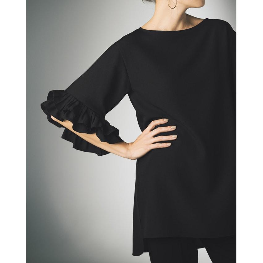 袖プリーツ使い ジョーゼットロングブラウス ※今回こちらのお色の販売はございません。参考画像です。