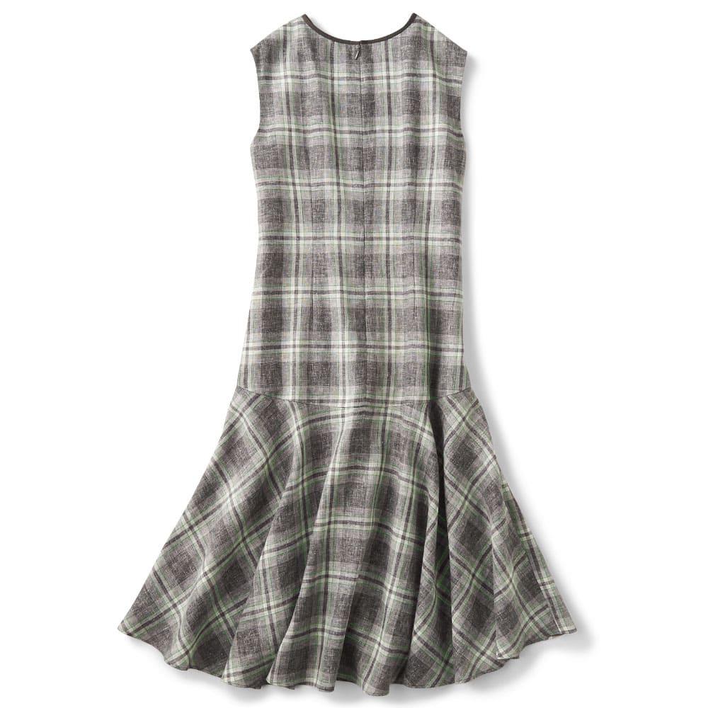 リネン混先染めチェック 裾フレアワンピース Back Style