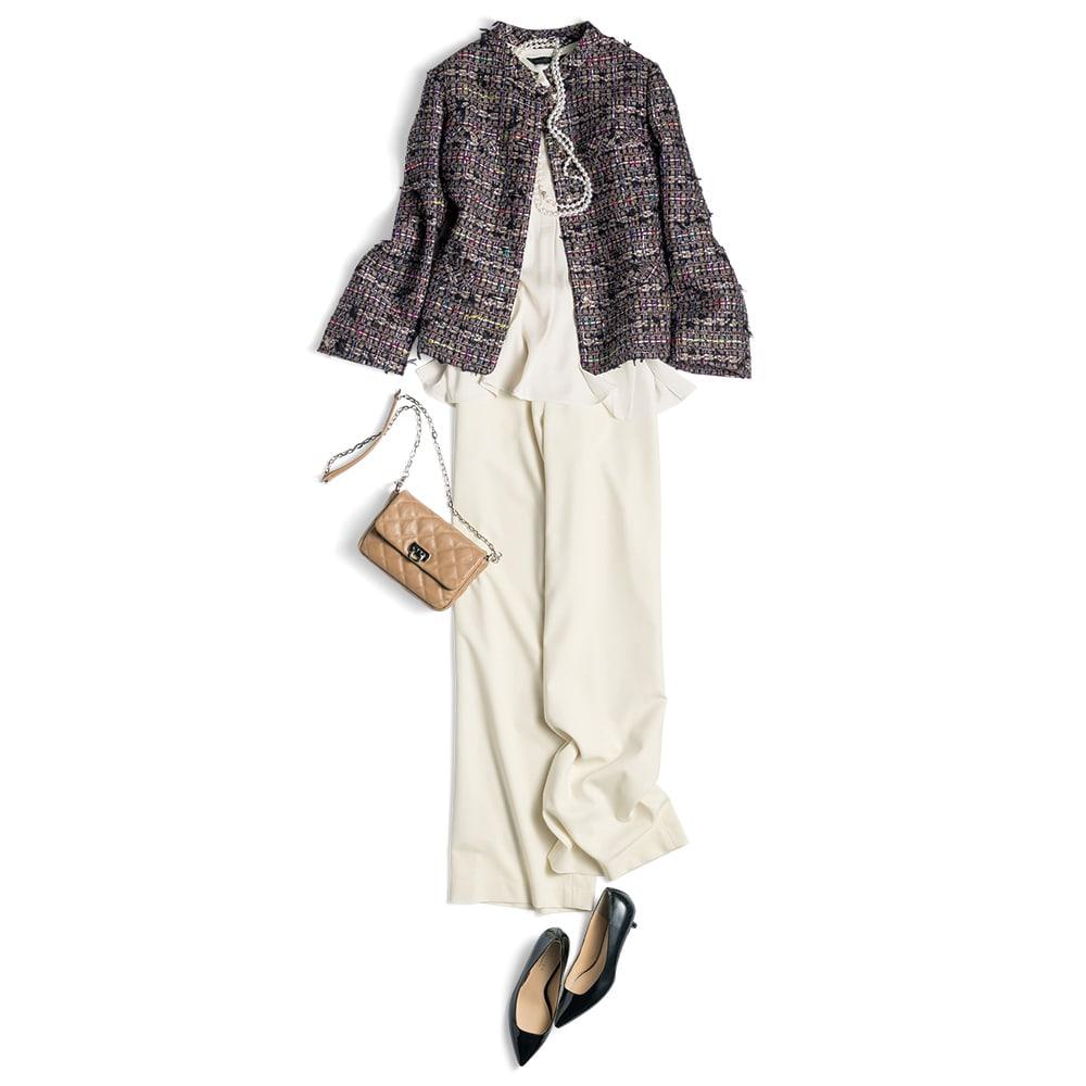 マリア・ケント社 リボンツイード ジャケット【2点以上で10%OFF】 コーディネート例 /オフホワイトでより華やかにまとめた着こなし。落ち感のあるブラウスとワイドパンツで、フェミニンに仕上げました。小物もツイードの中の色をアクセントに使うのがポイント。