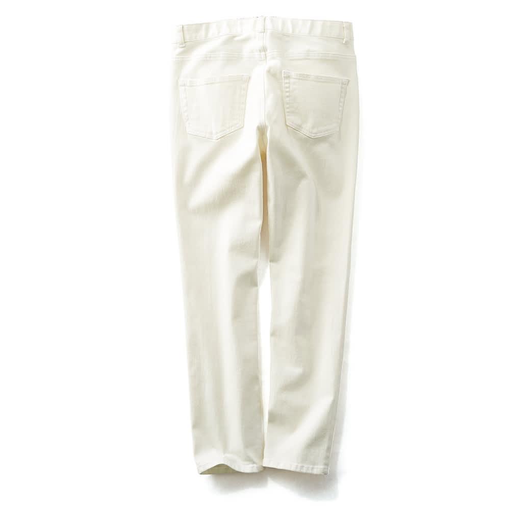 (股下丈68cm/フルレングス)スーパーストレッチ デニムパンツ ホワイト/クロップド BACK ※参考画像です。