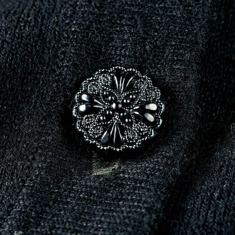 CHRISCELIN/クリスセリーン チカン刺繍使い コットンカシミヤニット カーディガン 装飾ボタン