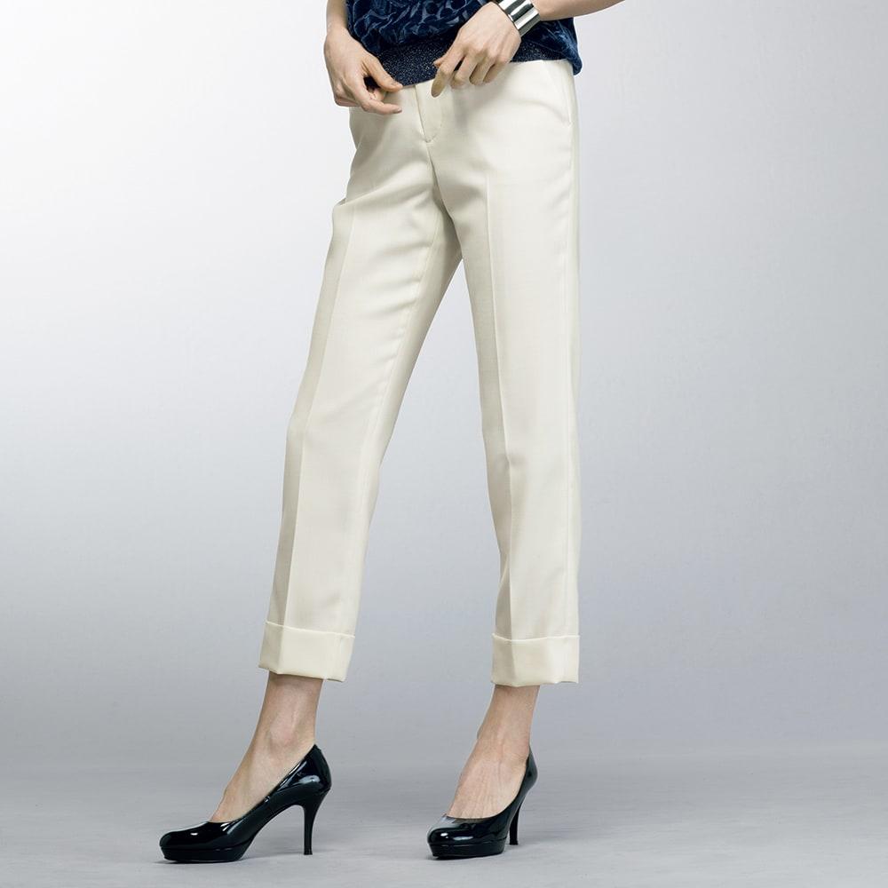 (股下丈63cm) 裾ダブル クロップドパンツ (ア)ホワイト 着用例