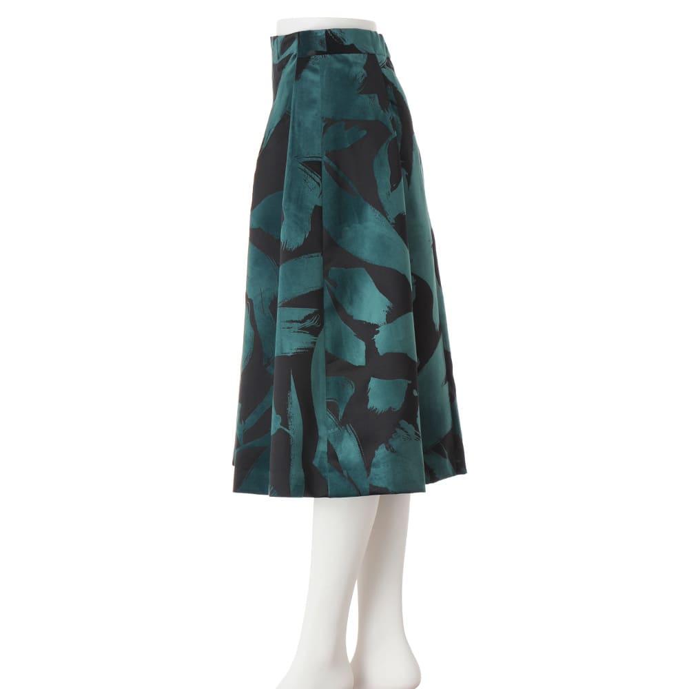 フラワー フロッキープリント フレアースカート