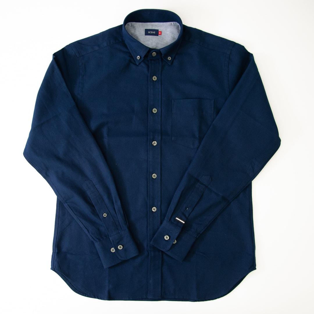 SCENE(R)/シーン 7DAYSジャパンメイドシャツシリーズ ツイル起毛ネイビー ツイル起毛ネイビー色