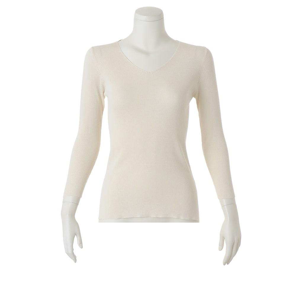 UVカット シルク100% リブニットシリーズ 美デコルテ Vネックプルオーバー ※今回こちらのお色の販売はございません。参考画像です。