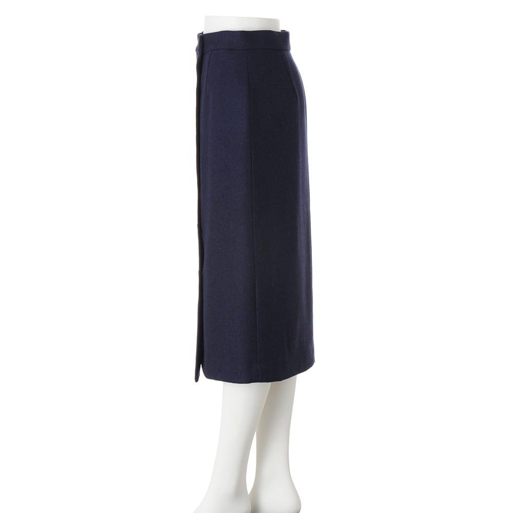 イギリス素材 ボタンデザイン ツイード タイトスカート