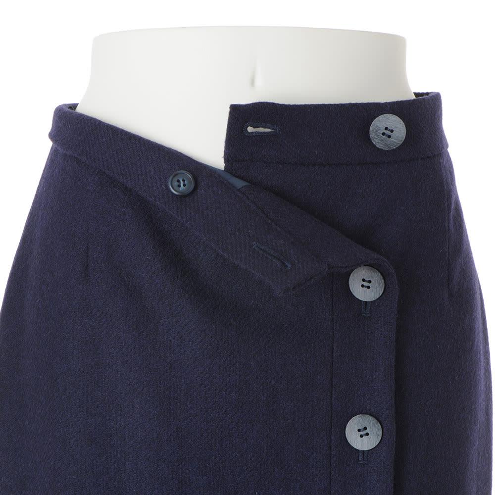 イギリス素材 ボタンデザイン ツイード タイトスカート 前ボタン開き