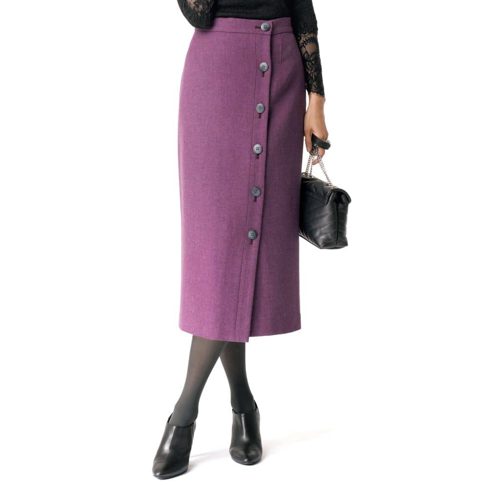 イギリス素材 ボタンデザイン ツイード タイトスカート ※今回こちらのお色の販売はございません。参考画像です。