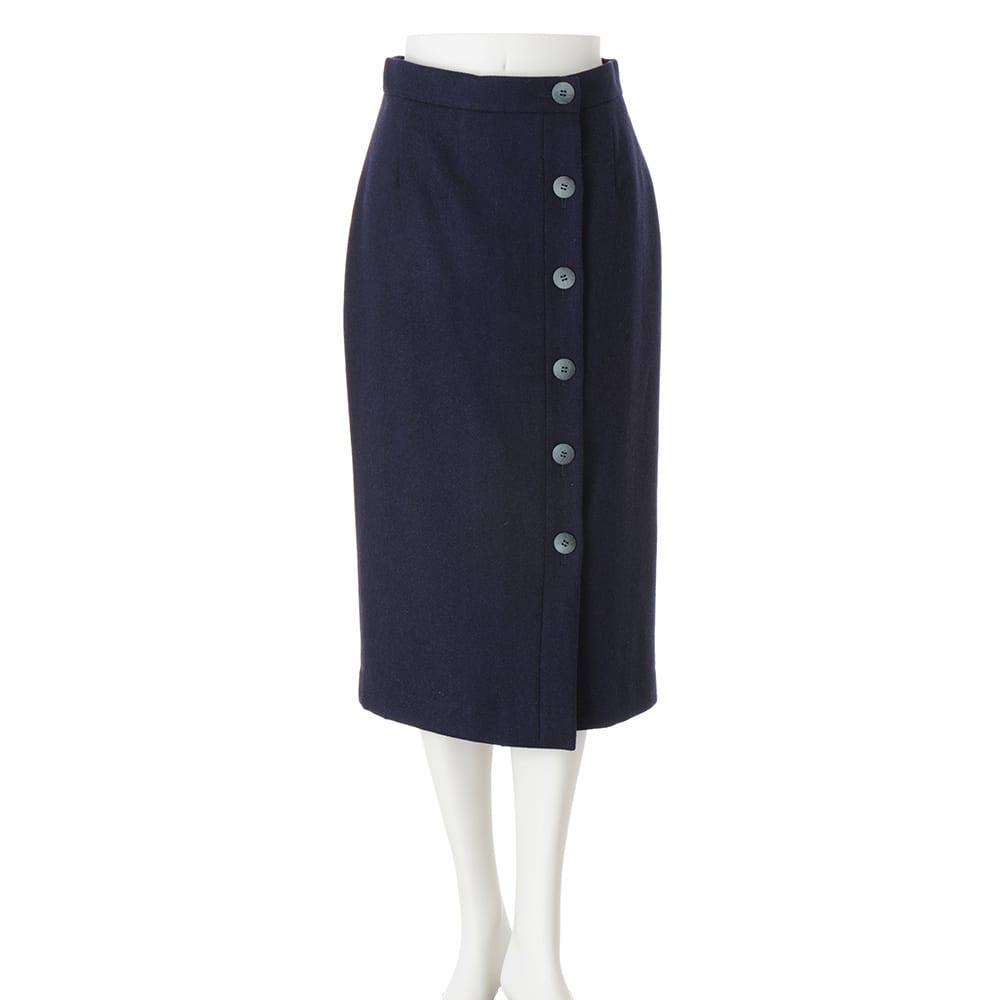 イギリス素材 ボタンデザイン ツイード タイトスカート ネイビー系