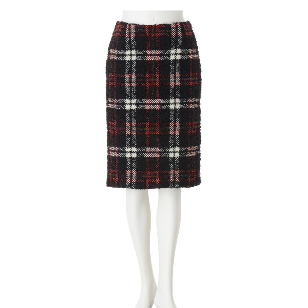 イタリア素材 チェックツイード スカート