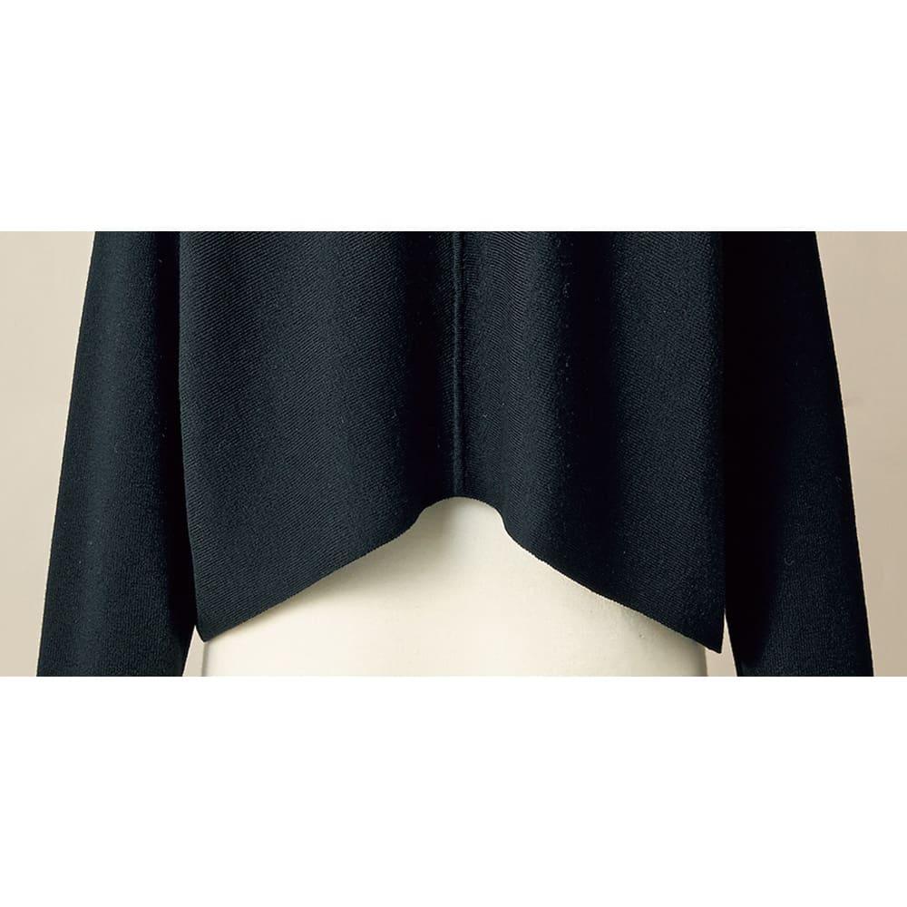 総針編み 変形ヘム ショートカーディガン 裾(BACK)