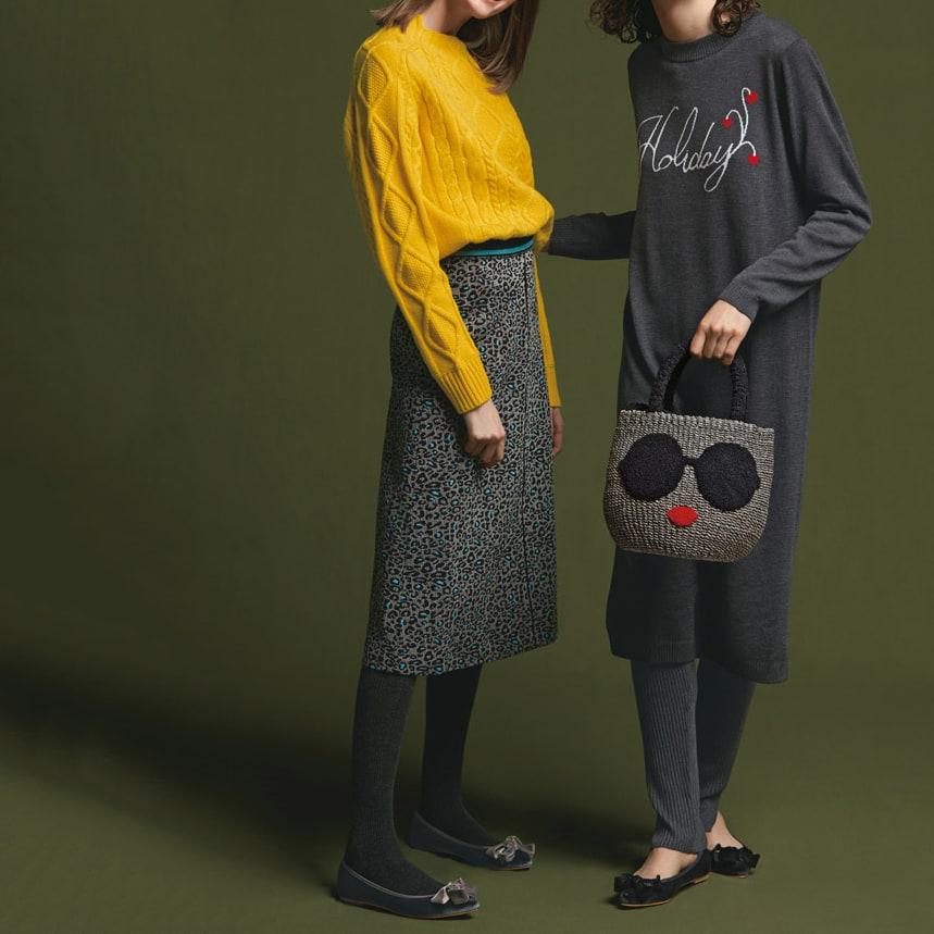 アラン編み ニットプルオーバー (左)アラン編み ニットプルオーバー (ア)イエロー コーディネート例