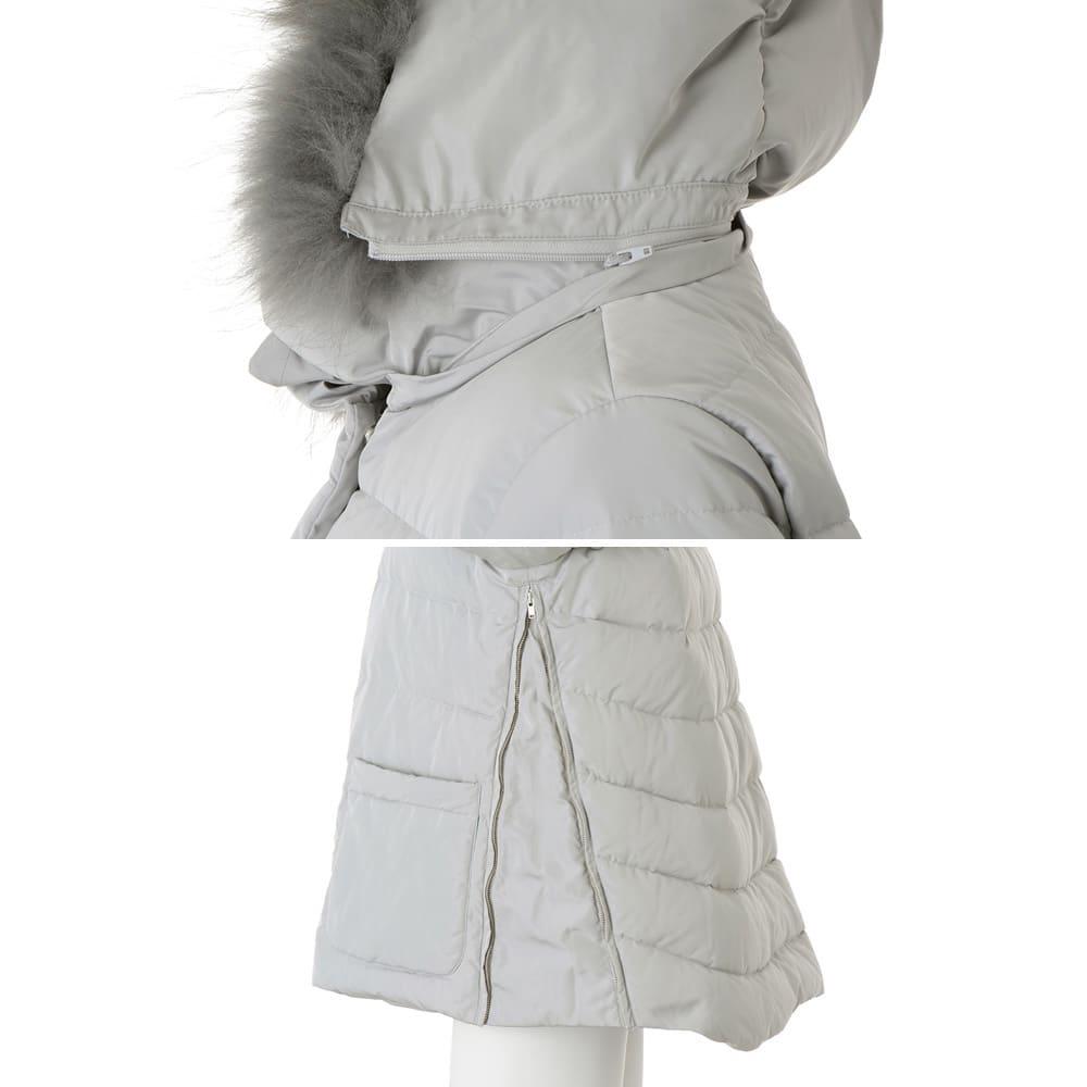 ラクーンファー付き ダウンショートコート フード自体は取り外せますが、フードのファーは縫い付けの為ファーのみを取り外せません。  両脇ファスナー式マチあり。