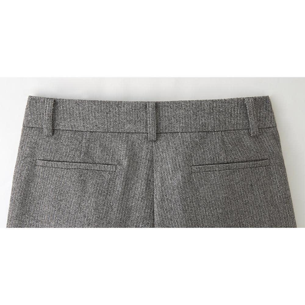 (股下丈59cm)微起毛素材 ワイド クロップドパンツ BACK