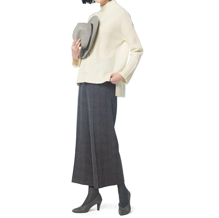 (股下丈59cm)微起毛素材 ワイド クロップドパンツ コーディネート例