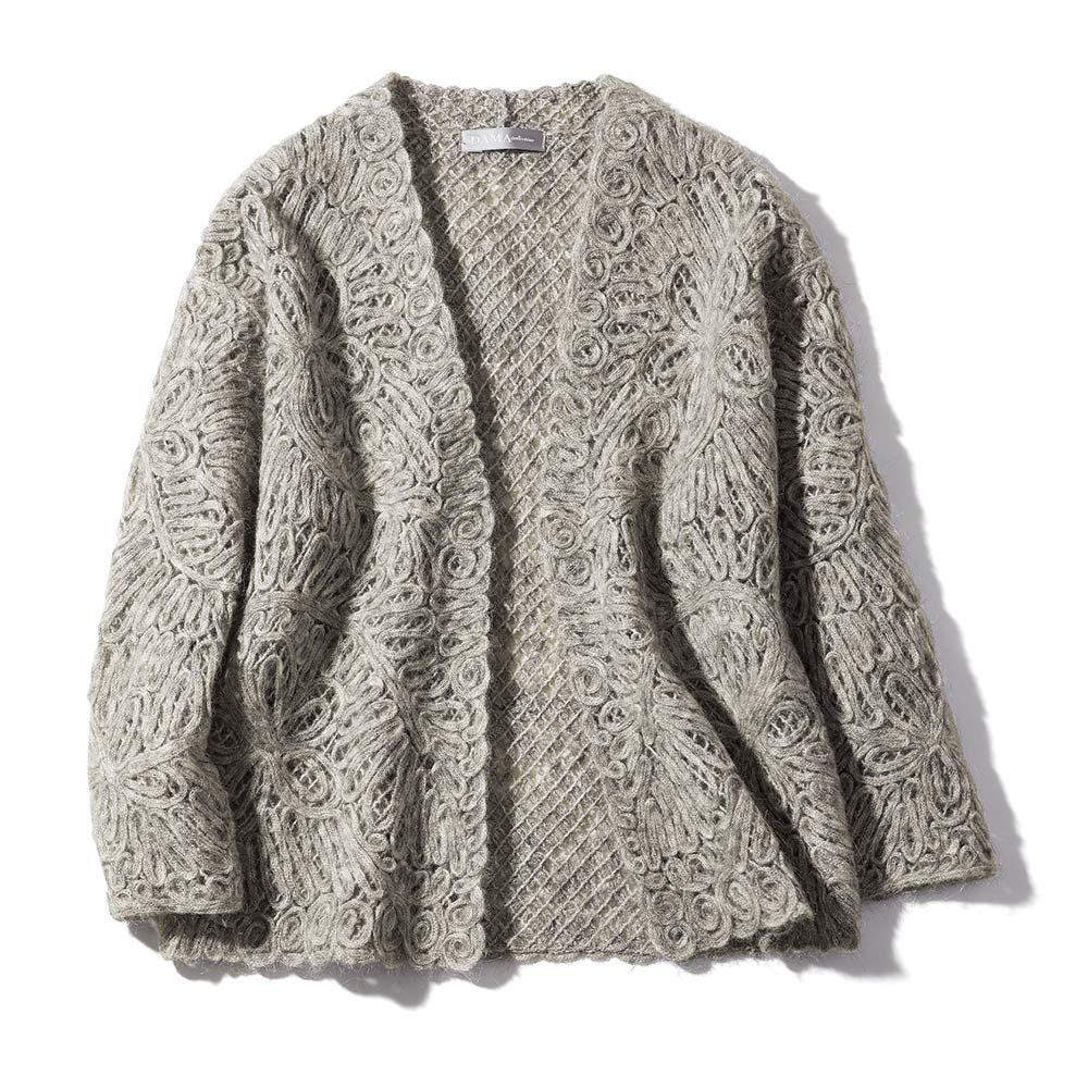 モヘヤウール混 ループ刺繍 ニットジャケット