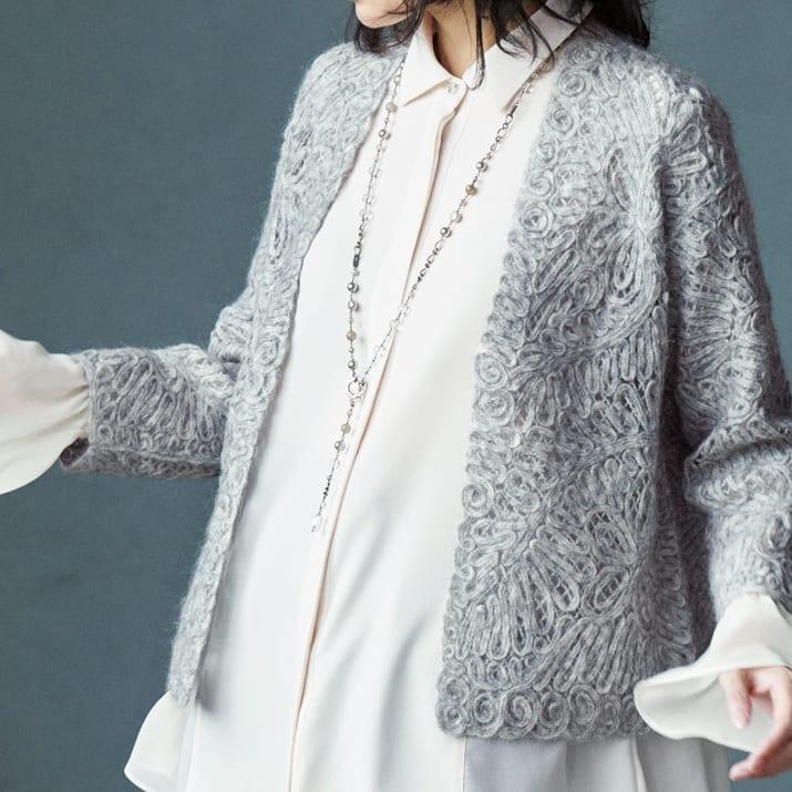 モヘヤウール混 ループ刺繍 ニットジャケット 着用例