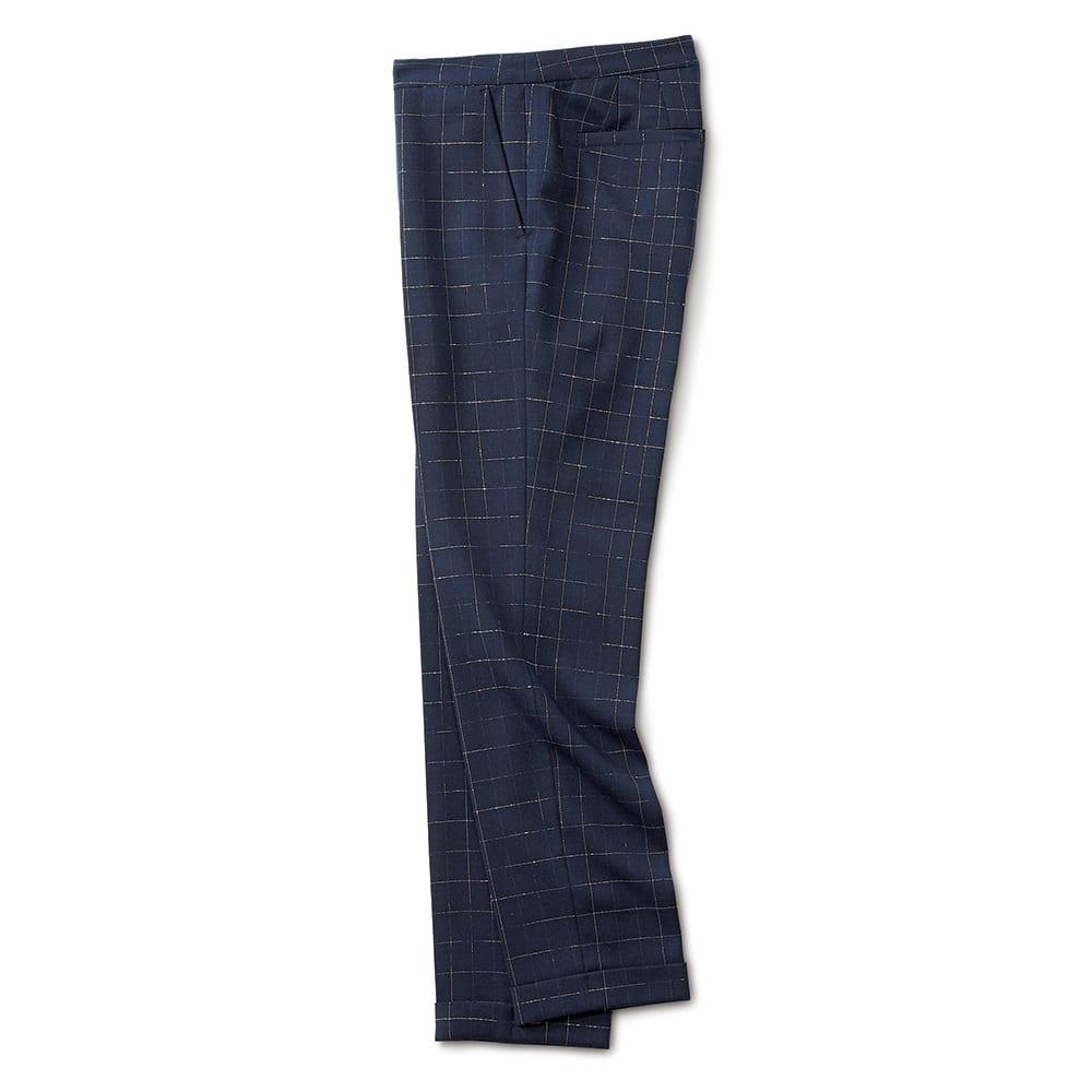 (股下丈68cm) イタリア素材 ラメ チェック パンツ ネイビー×シルバー SIDE