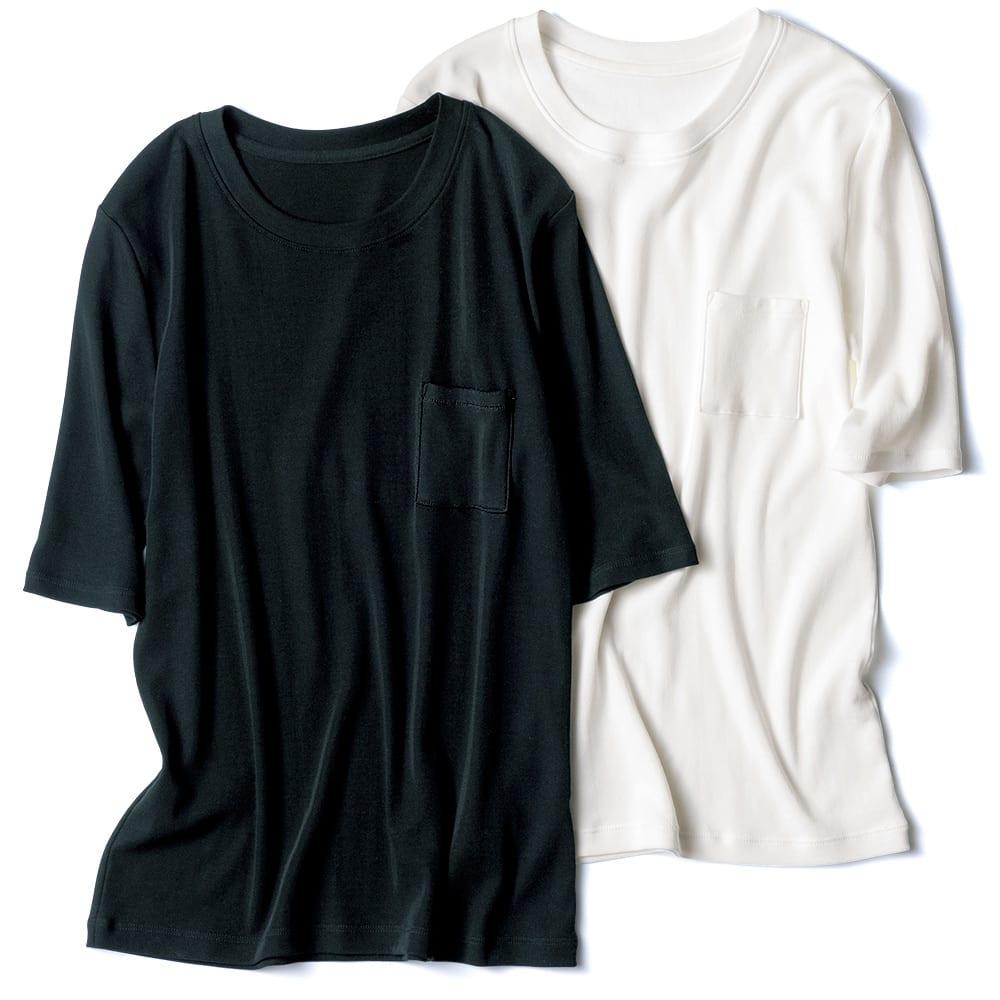 「フレスカ」 コットンスムース クルーネック Tシャツ 左から (イ)ブラック (ア)オフホワイト