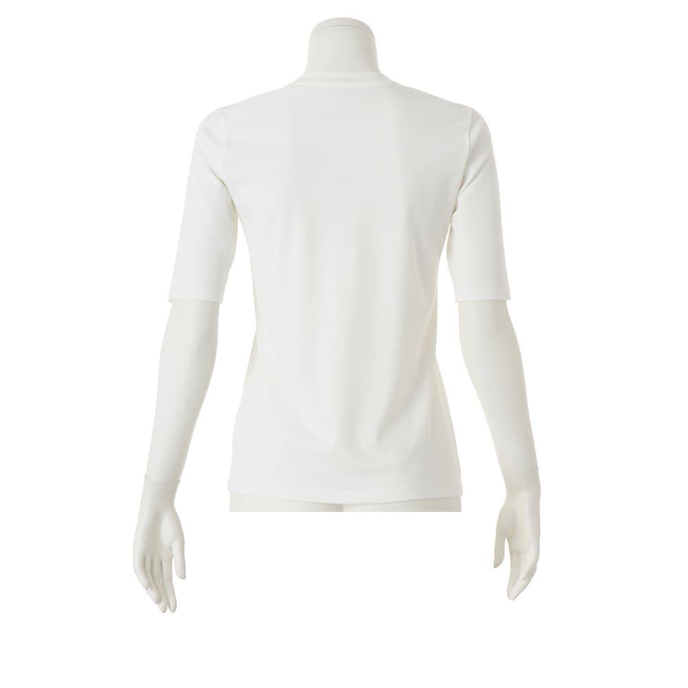 「フレスカ」 コットンスムース クルーネック Tシャツ (ア)オフホワイト