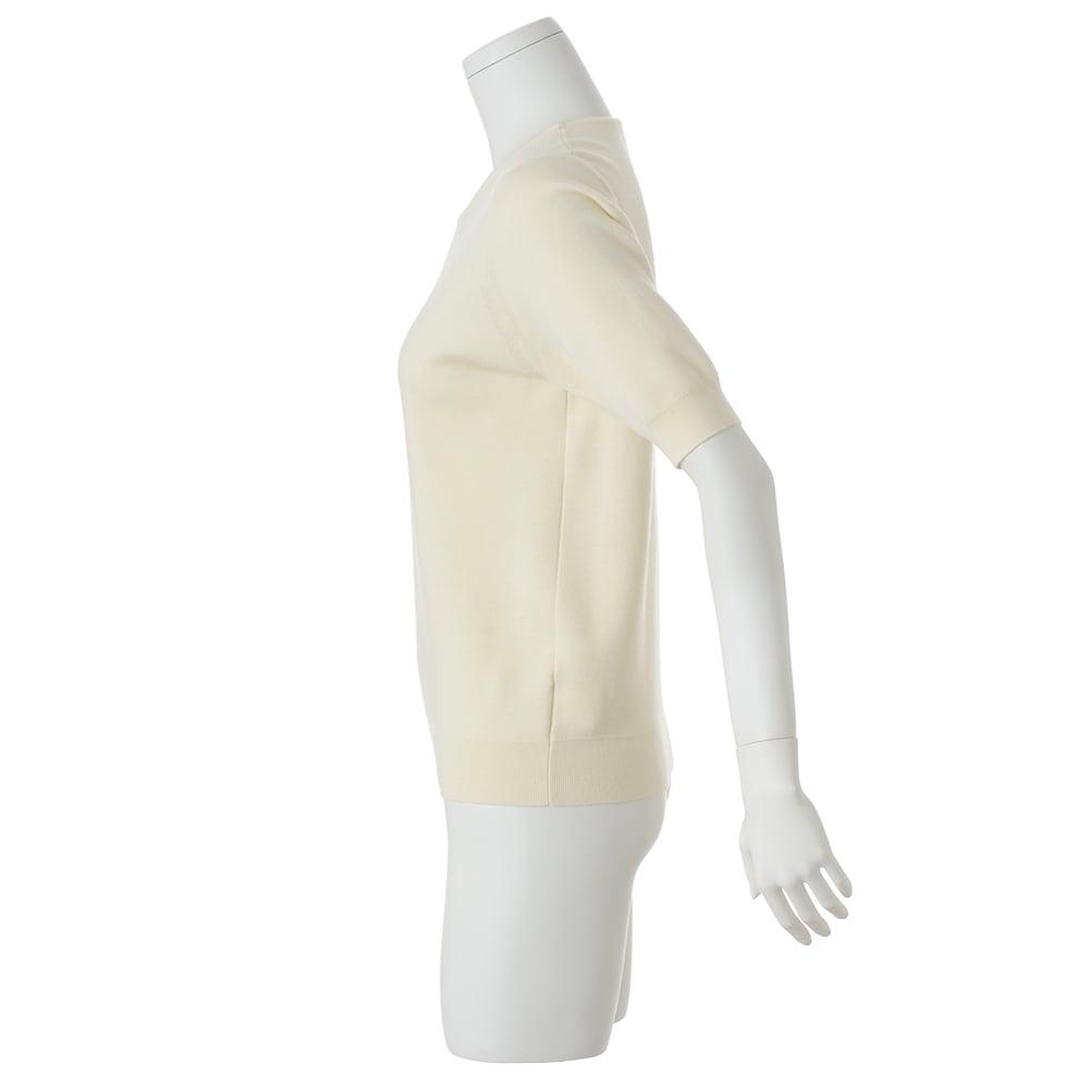 ウールスムース編み 半袖 ニットプルオーバー