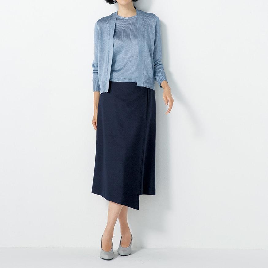 ウール混 ラップ風 スカート (イ)ネイビー コーディネート例