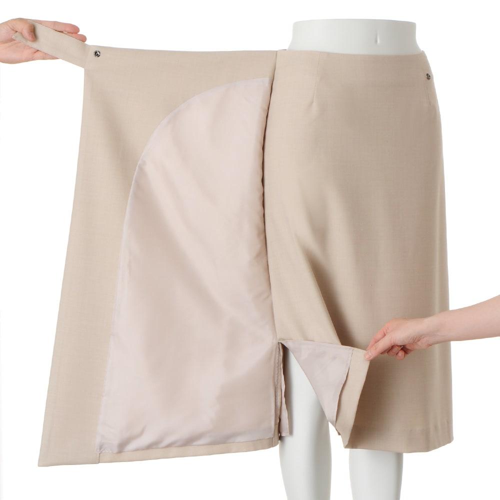 ウール混 ラップ風 スカート (ア)サンドベージュ
