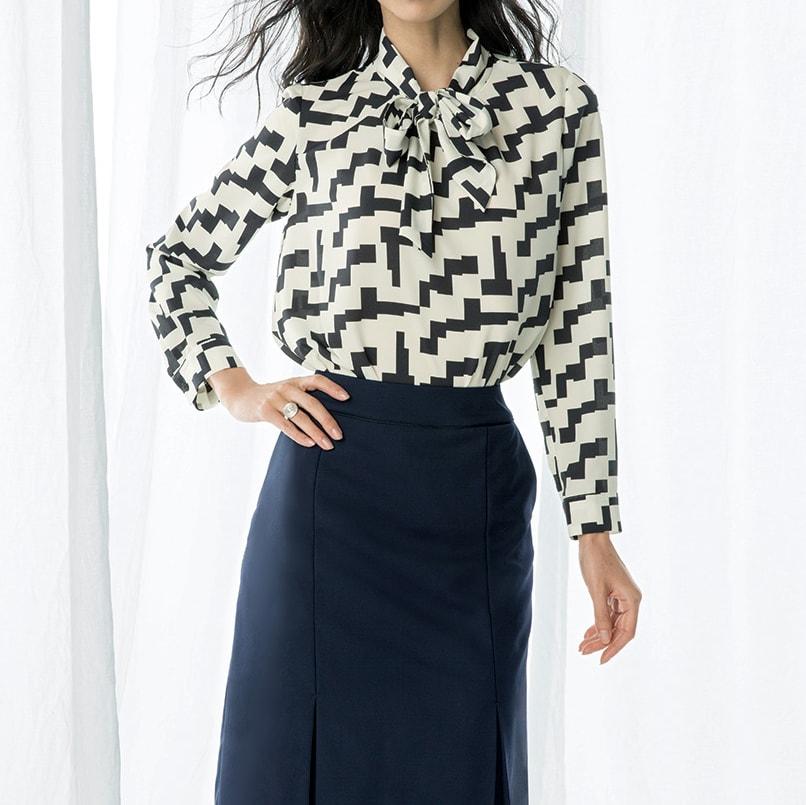 ウール混 ドビー タックデザイン スカート コーディネート例