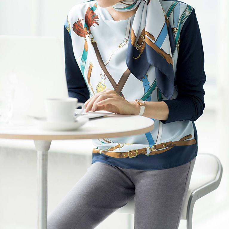 シルクツイル プリント スカーフ コーディネート例