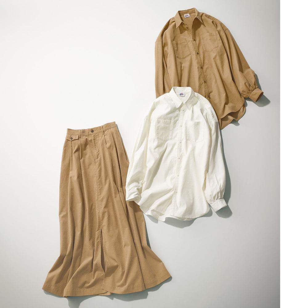 CIMARRON JEANS/シマロン ジーンズ 細コーデュロイ ビッグシャツ コーディネート例