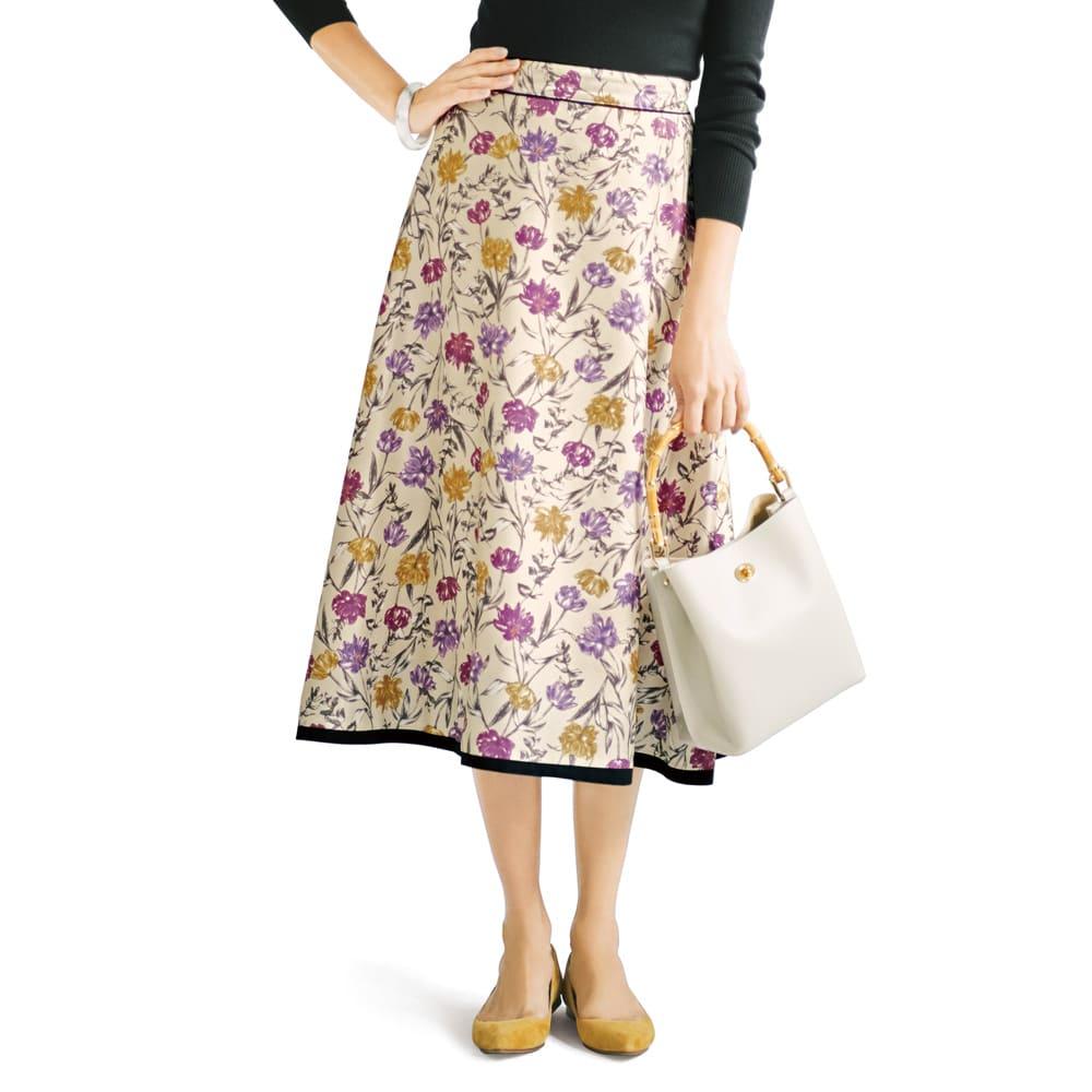 フラワー×無地プリント リバーシブル スカート 花柄面 コーディネート例