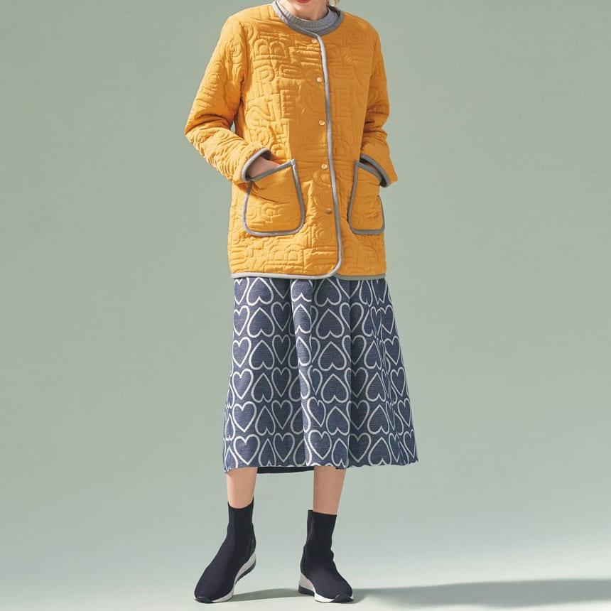 フランス素材 ハートジャカードスカート コーディネート例