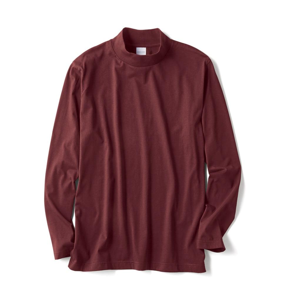 「i cotoni di ALBINI」 超長綿ハイネックTシャツ (オ)ワイン(web限定色)