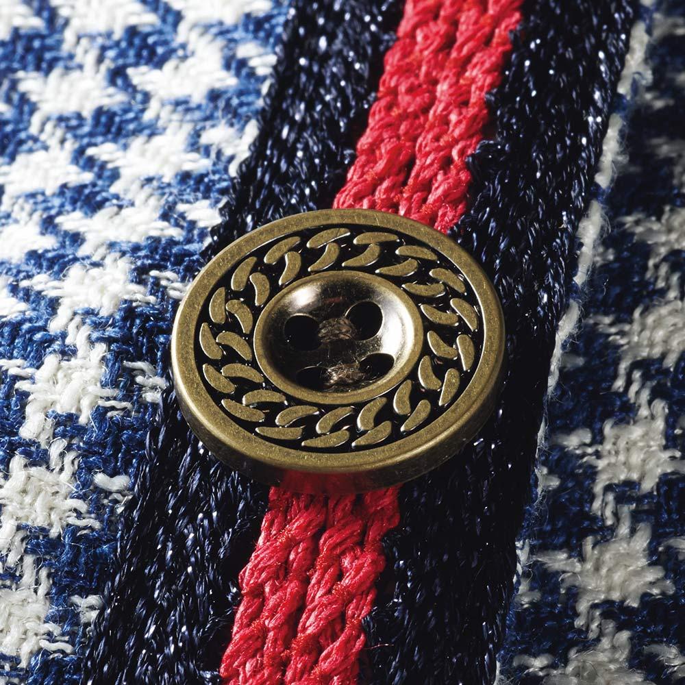 フェルラ社 シルクリネン混 千鳥ジャカード ノーカラージャケット ボタン部分