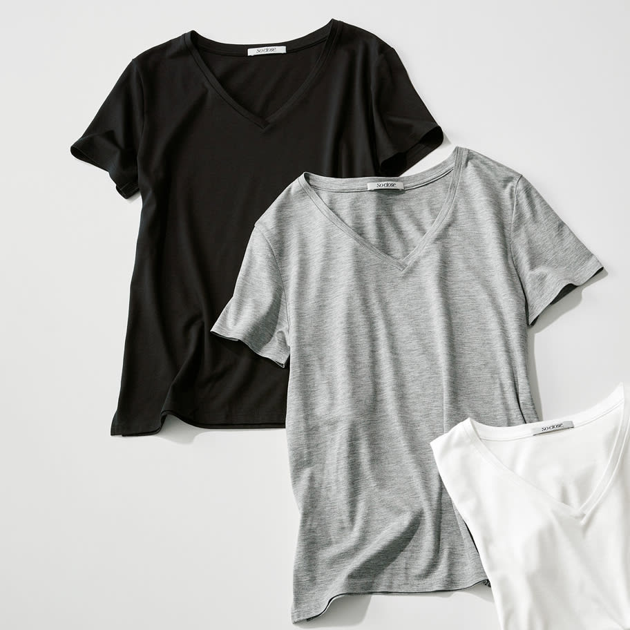 新美デコルテ(R) 合わせ細V開き半袖Tシャツ 上から(ア)ブラック、 (ウ)グレー、オフホワイト ※今回オフホワイト色の販売はございません。