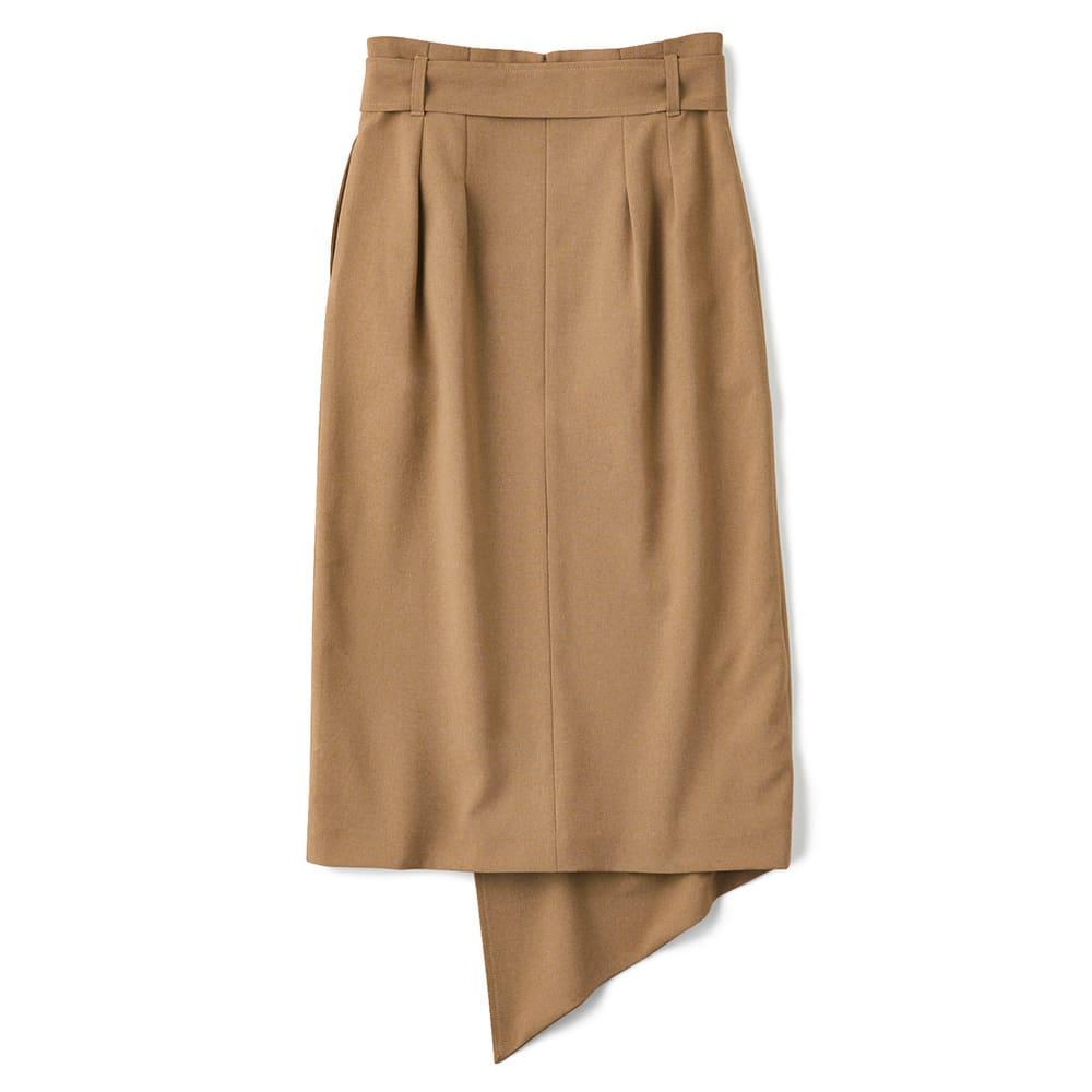 リネン調 メランジシリーズ 巻き風スカート Back Style