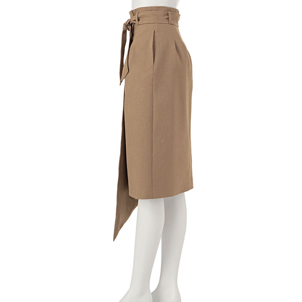 リネン調 メランジシリーズ 巻き風スカート
