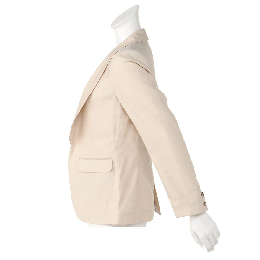 リネンシルク混 ショールカラー ジャケット