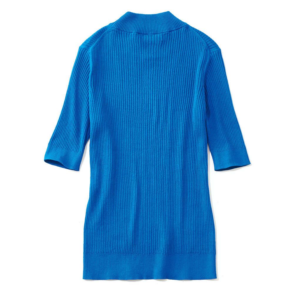 イタリア糸 リブ編み ハイネック プルオーバー (イ)ブルー BACK