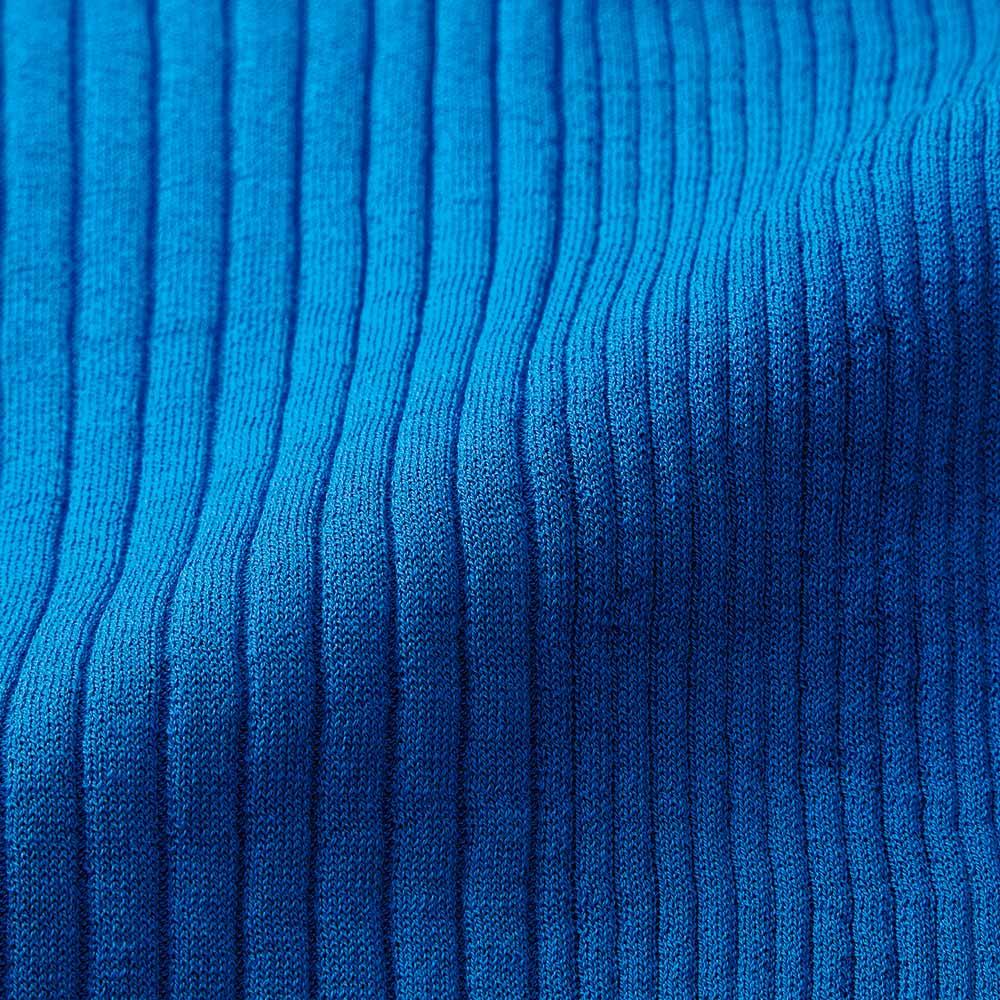 イタリア糸 リブ編み ハイネック プルオーバー (イ)ブルー 生地アップ