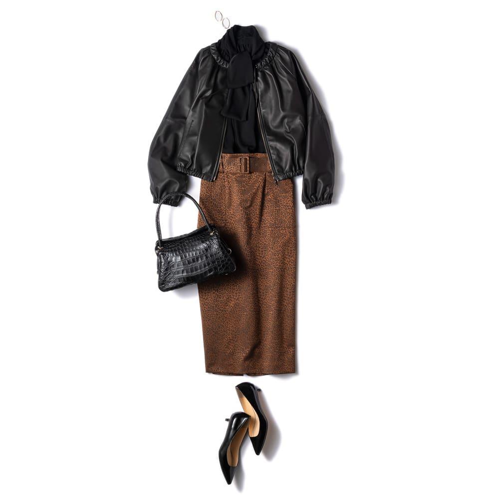 フランス素材 レオパード柄 ジャカード スカート コーディネート例